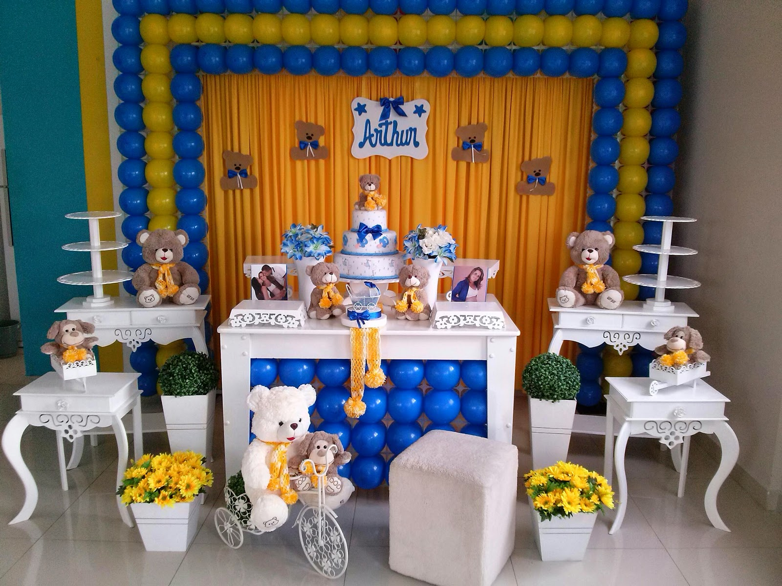 Chá de bebê azul c/amarelo CIFESTA DECORAÇÕES #063A6F 1600x1200 Banheiro Azul E Amarelo