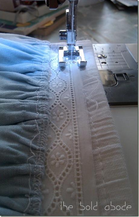 Attach ruffle to flour sack towel