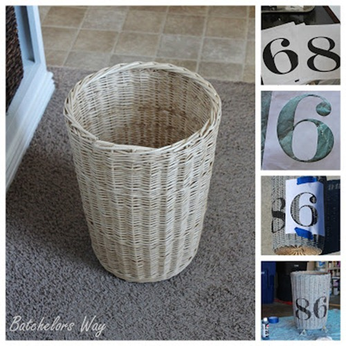 trash can with painted numbers