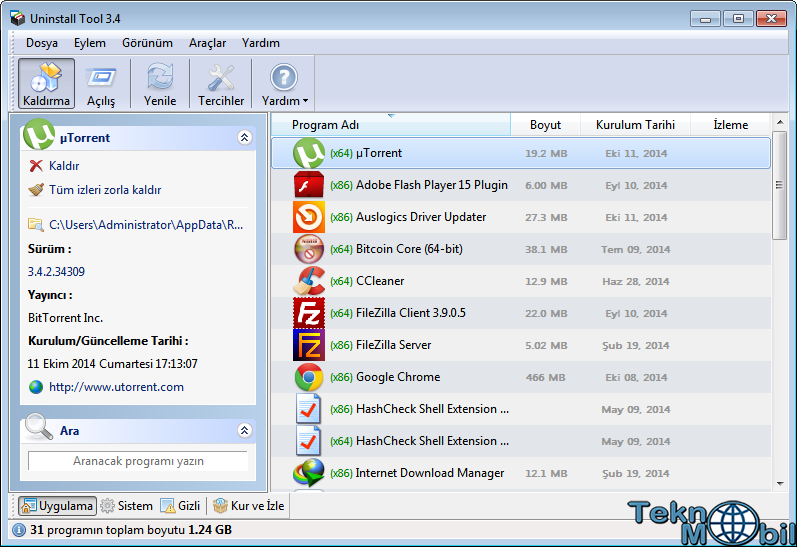 Uninstall Tool v3.5.6.5592 Türkçe Full İndir