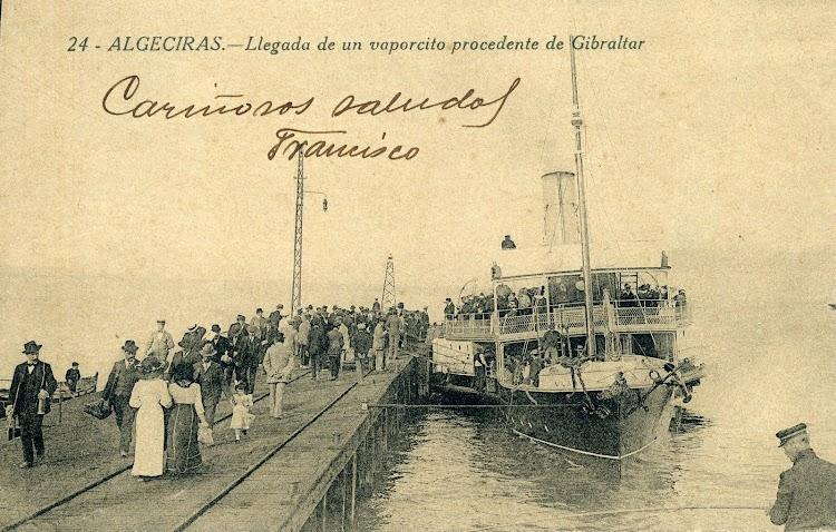 El ALINE atracado al muelle de Algeciras. POSTAL..JPG