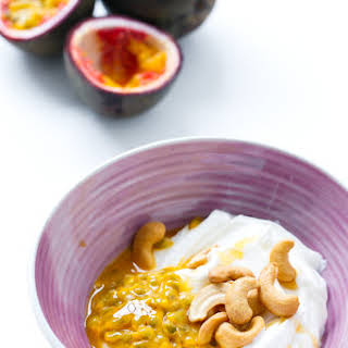 Passion Fruit Greek Yogurt with Cashews and Honey.