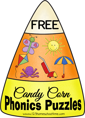 FREE Candy Corn Phonics Puzzles! Super cute alphabet and letter sound practice for toddler, preschool, kindergarten, and 1st grade. Cute fall activity for kids!