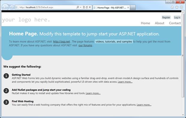 A default Visual Studio 2012 template