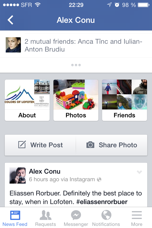 User profiles Facebook 8.0 on iOS: bottom section