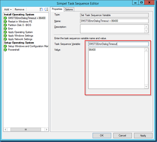 MINDCORE BLOG: Extend the Task sequence error timeout duration