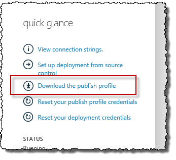 Download publish profile