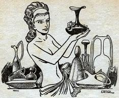 Illustration accompanying the publication in Astounding Science Fiction, British edition, June 1951, of short story Potters of Firsk by Jack Vance. Image shows the Mi-Tunn girl at her pottery shop on the planet Firsk.