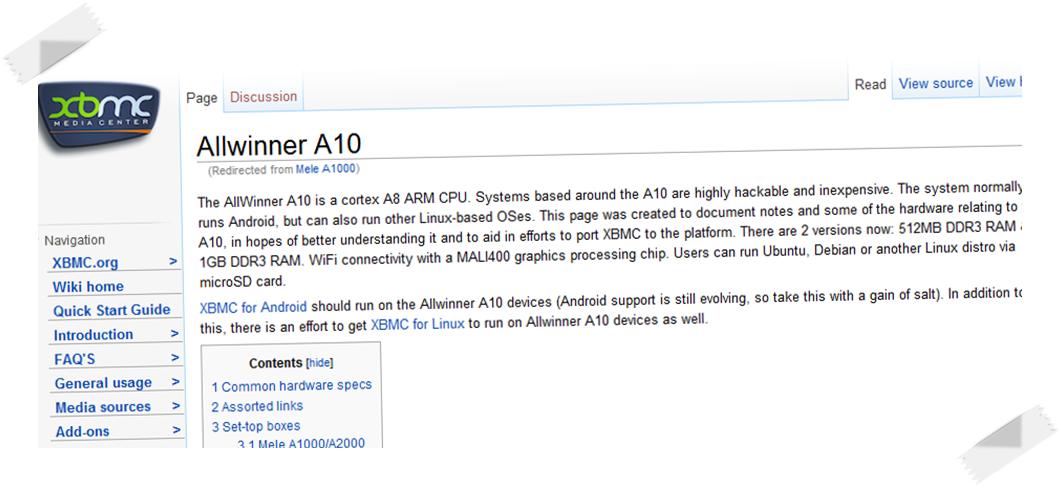 Allwinner offre il supporto per XBMC media center per MK802, Mele