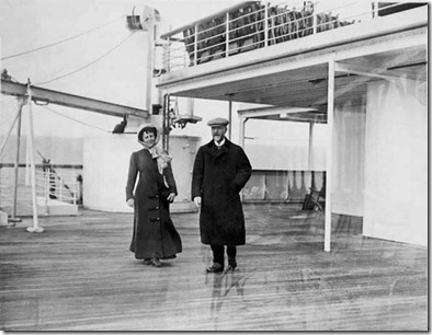 "Couple taking an early stroll on the Titanic  ""A"" Deck"
