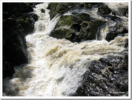 The falls of Feugh famous for Salmon. Spot the Salmon in this turmoil.