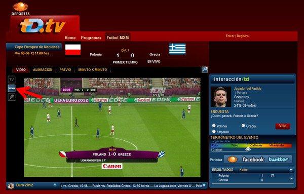 Partidos de la Euro online
