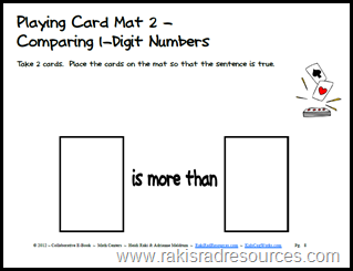 All you need is a deck of cards and this free sheet to make a great math center.  Download this e-book with 20 different playing card mats for free.