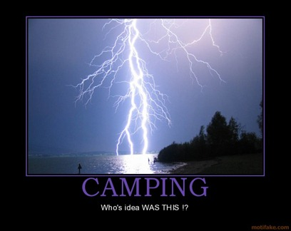 camping and lightning poster