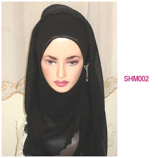 shawl halfmoon plain black