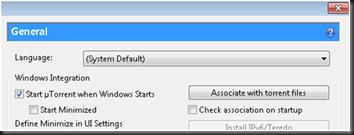 Start utorrent when windows start
