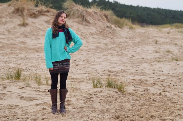 sweater weather mint pastel jumper aztec knitted skirt on a sandy beach