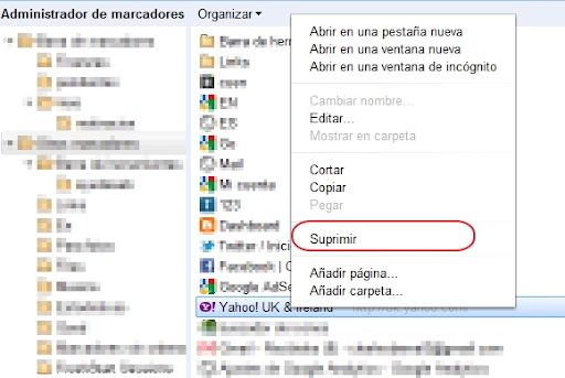 borrar un marcador en Chrome