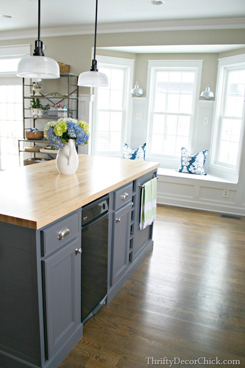 butcher block on island