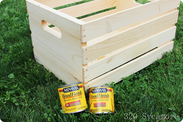 wood crate from Joann's and stain