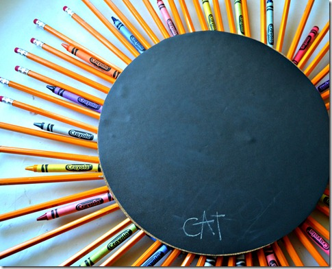 back to school wreath crayons and chalkboard