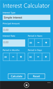 Interest Calculator application for Windows Phone