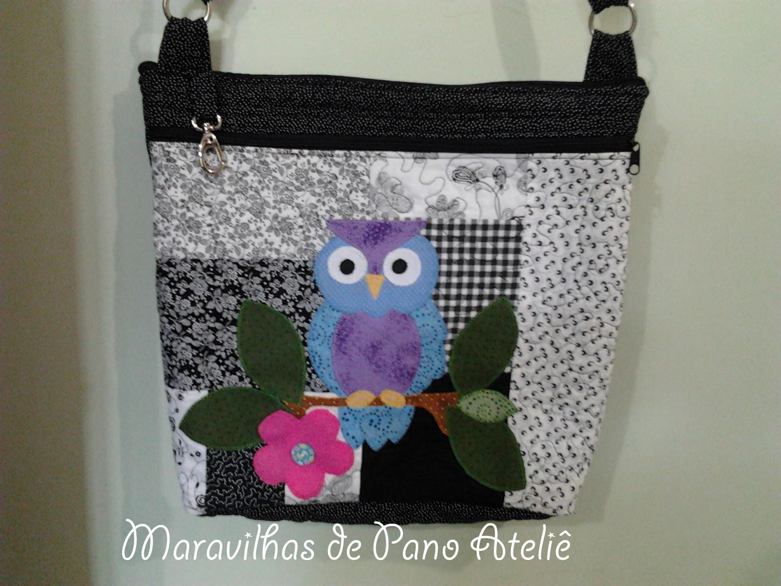 c30ce9a98 Maravilhas de Pano ateliê: Bolsa em patchwork com aplique de coruja
