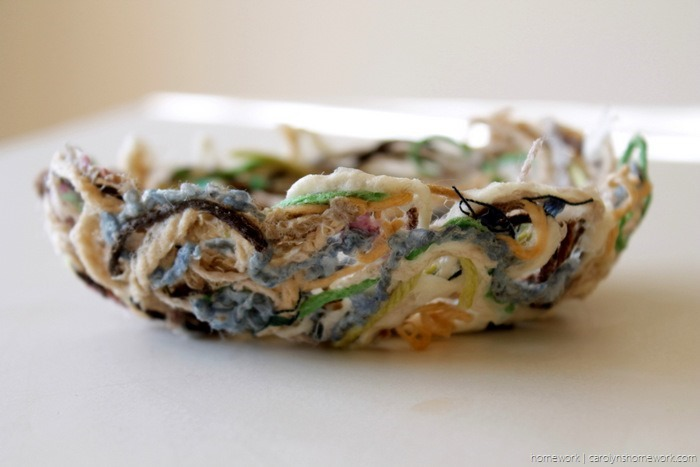 Yarn Scrap Paper Mache Nest via homework - carolynshomework (6)