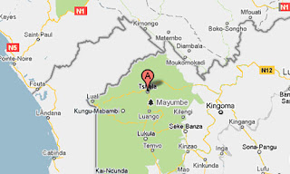 Territoire de Tshela marqué en rouge sur carte