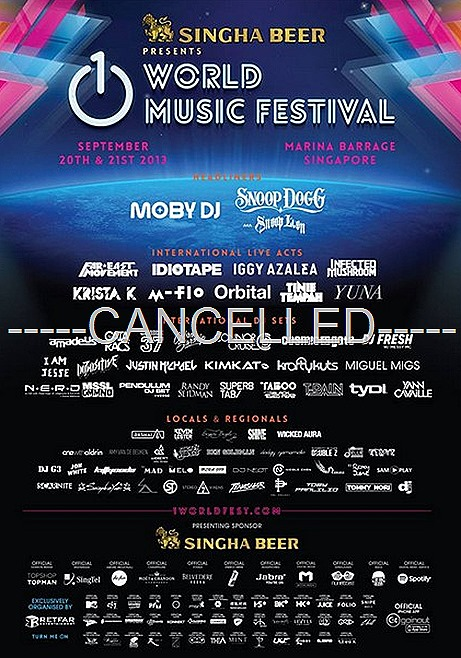 1 World Festival Singapore cancelled F1 2013 Weekend party MOBY DJ Snoop Dogg Far East Movement, Iggy Azalea, Cosmic Gate, Tinie Tempah, Yuna, Orbital, Infected Mushroom, Pendulum, Sub Focus, Cobra Starship, T-Pain, yuna