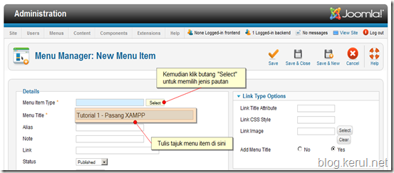 menu Joomla! 1.7 - edit menu item