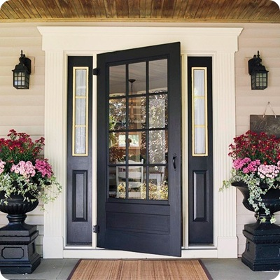 black glass front door