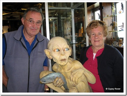 Derek & Dot with Gollum at Weta Cave, Miramar.