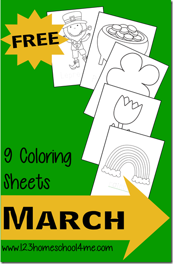 Free March Coloring Pages - Super cute coloring sheets for st. patricks day, pot of gold, clover, tulip, rainbow, and more for toddler, preschool, prek, and kindergarten.