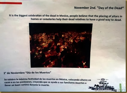 Dia de Muertos or Day of the Dead is the biggest celebration of the dead in Mexico, people believe that the placing of altars in homes or cemeteries help their dead relatives to have a good way to dead
