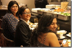 Arpana, Aishwarya, Rushina. No sushi for us