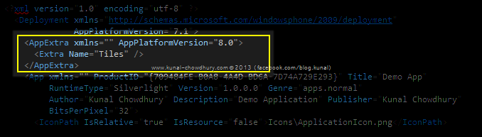 Add AppExtra tag for WP8 version Support in WMAppManifest..xml File