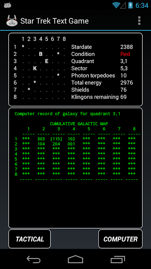 Star Trek Text Game - screenshot