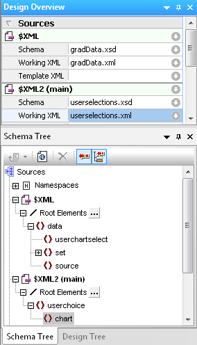 Design Overview and Schema Tree showing multiple working XML files
