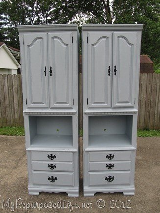 BlueGray Shelves with Homemade Chalk paint