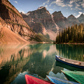 Moraine Lake by Joseph Law - Landscapes Waterscapes ( glacier, national park, rocky mountains, boats, reflections, trees, banff, moraine lake )