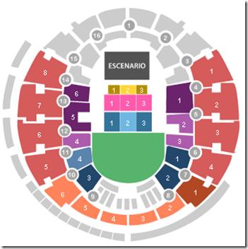 Arena Mapa de zonas de entradas