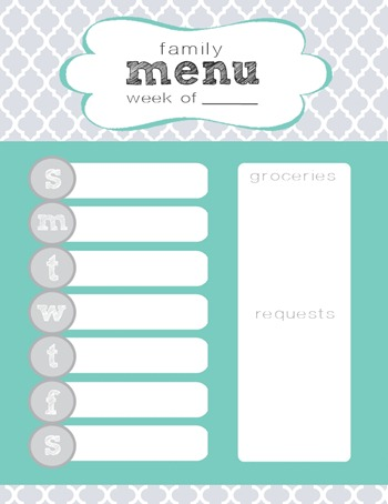 quatrefoil weekly menu printable