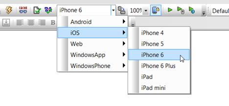 MobileTogether Simulator choices for iOS