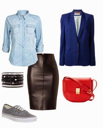 Saia pencil em pele, camisa de ganga, ténis cinza, blazer azul, mala tiracolo vermelha