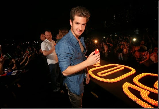 SINGAPORE, SINGAPORE - March 29, 2014: Andrew Garfield and the cast for THE AMAZING SPIDER-MAN 2 and Spider-Man, the first super hero Ambassador For Earth Hour, attend the Earth Hour Kick-Off. #SpiderMan