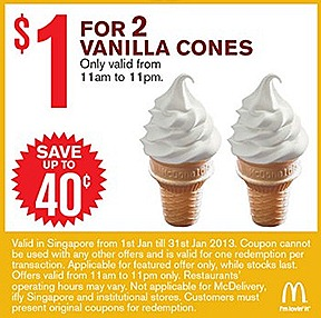 McDonalds Vanilla Cone 2  for $1 Small Fries and Sundae $2, Extra Small Coke Small Fries $2 $1 Sundae $2 McNugget 6 piece $3 McWings 4 piece  Mac Double McSpicy Burger 9 piece McNugget Double Filet-O-Fish $5 Combo Meals