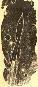 Illustration accompanying a reprint in Wonder Stories magazine of short story Thanasphere by Kurt Vonnegut. Picture shows the rocket of the story in a near earth orbit.