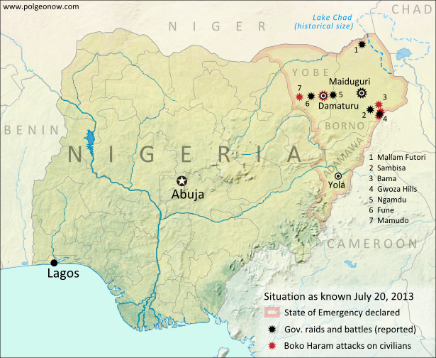 Map of battles, government raids, and rebel attacks in Nigeria's war with Boko Haram and declared state of emergency. Updated for July 2013.