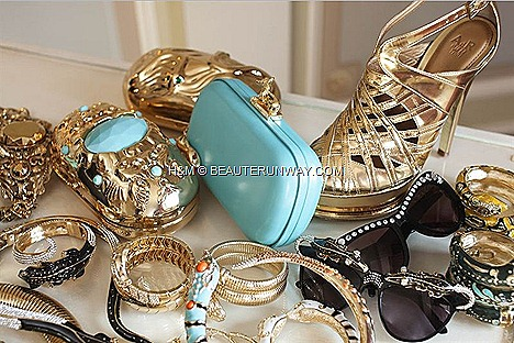 H&M ADR UNBASHEDLY GLAMOROUS ANNA DELLO RUSSO JEWELLERY ACCESSORIES GOLD CLUTCH BRACELETS RINGS SHOES BAGS SUNGLASSES BLUE  DIAMANTE TROLLEY FALL WINTER 2012 FASHION WEEK COLLECTION